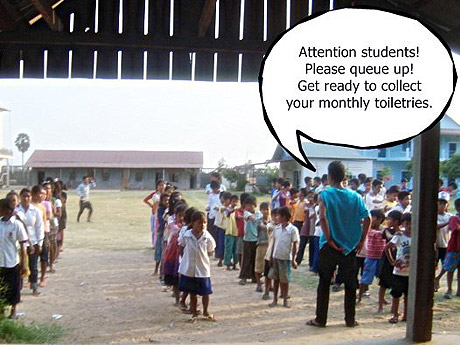 Cam Feb 2011 - Orphans queuing up for monthly supplies