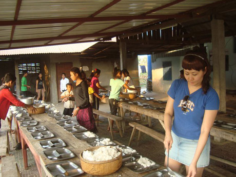 Cam Feb Rice 2011 - Helping to prepare dinner for orphans in Phnom Pehn